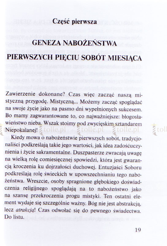 Nabożeństwo Pięciu Pierwszych Sobót Miesiąca - Klub Książki Tolle.pl